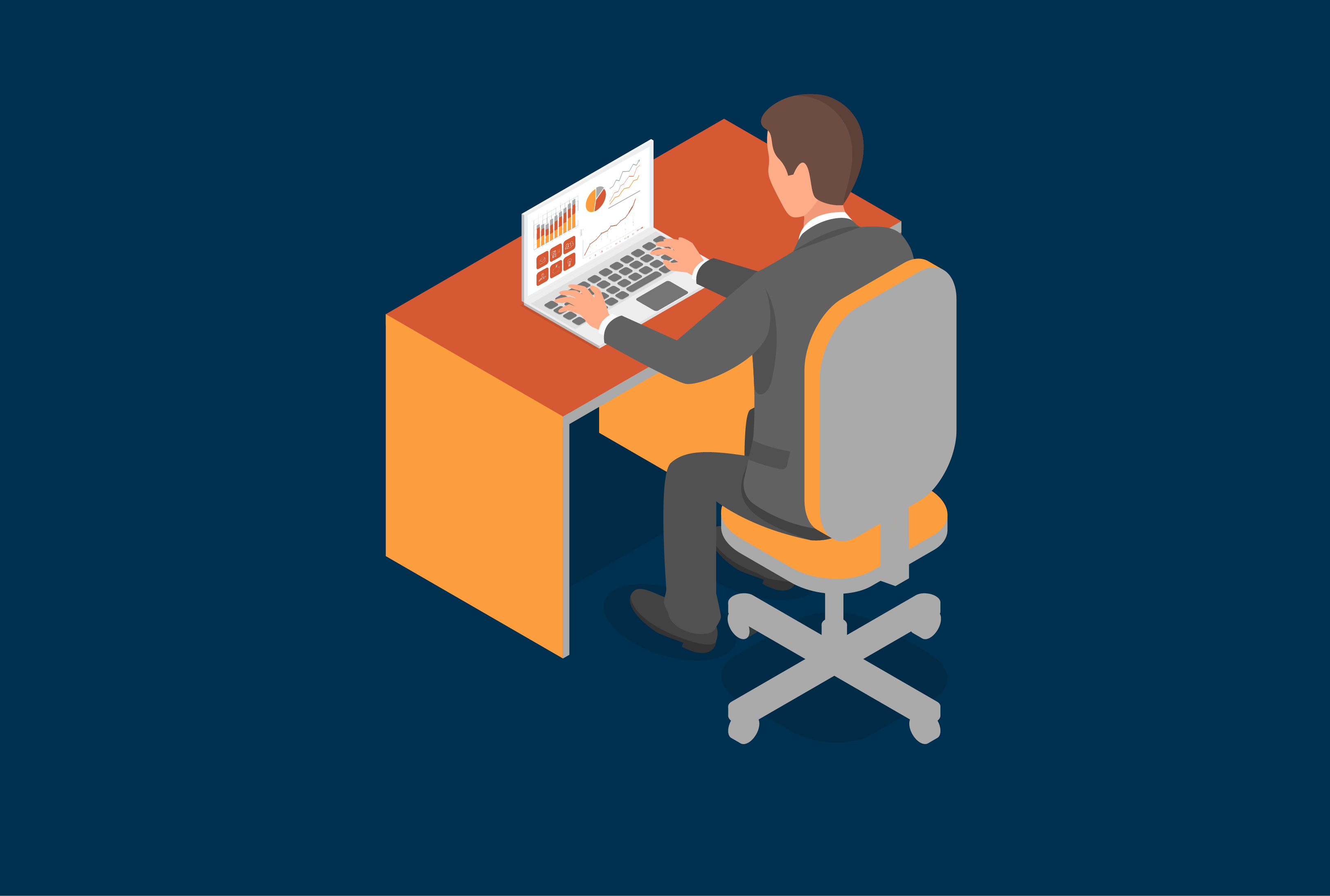 Illustration for EDF showing a man on his desk with a laptop