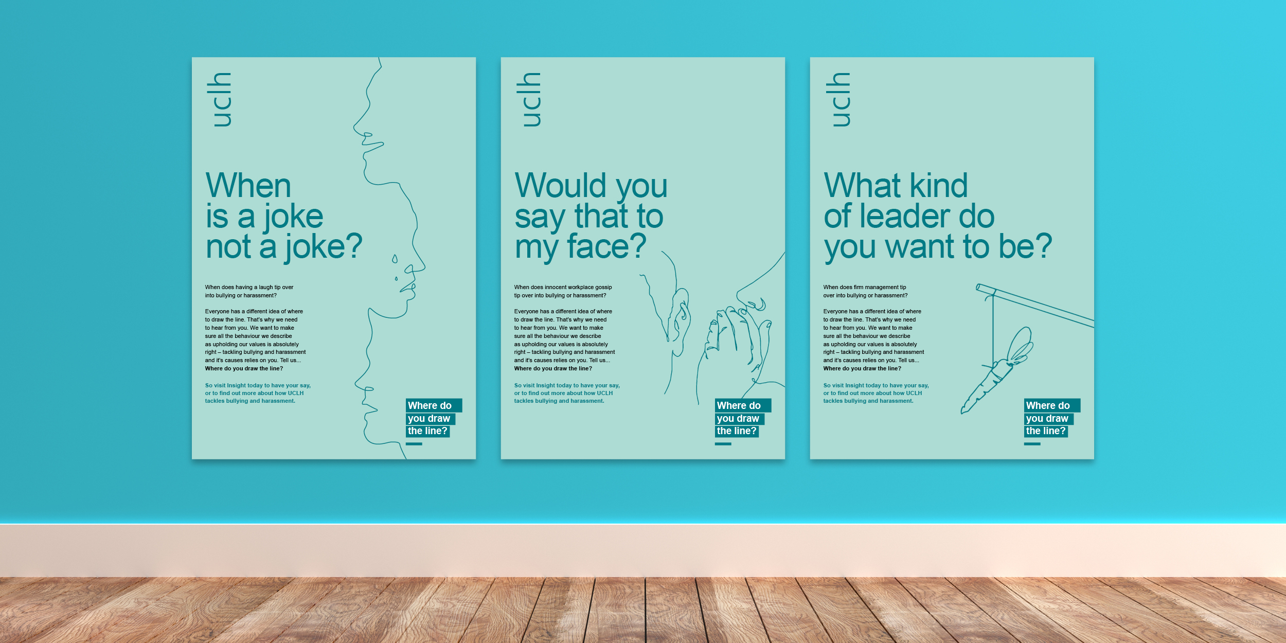 """Where do you draw the line"" anti bulling and harassment staff engagement campaign posters"
