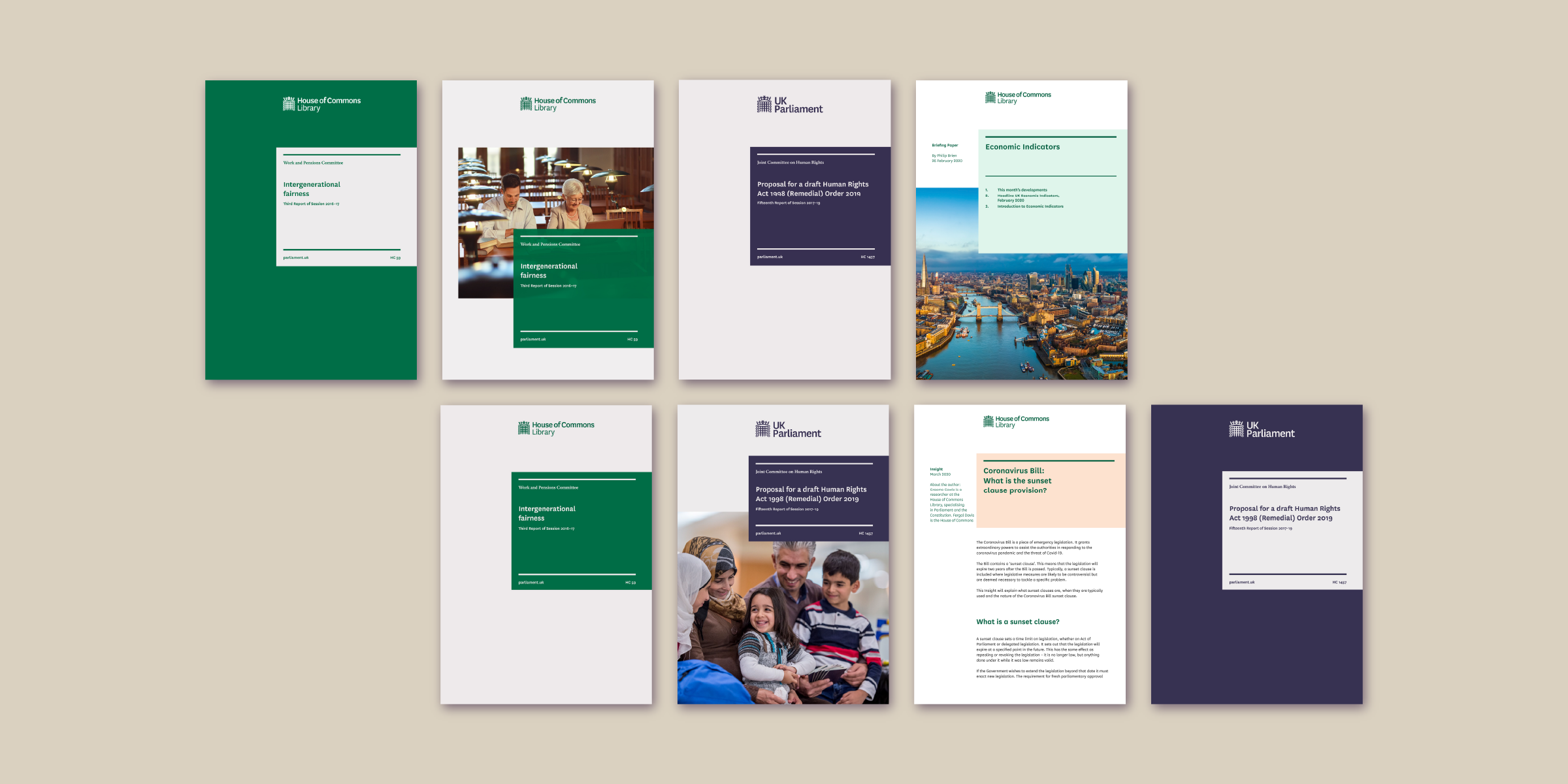Several covers of UK Parliament and House of Commons reports